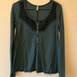 Free People dark teal waffle top size m